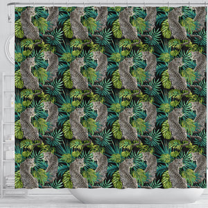 Leopard Leaves Pattern Shower Curtain Fulfilled In US