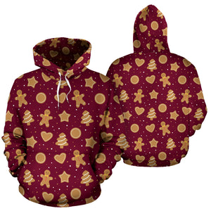 Christmas Ginger Cookie Pattern Background Pullover Hoodie