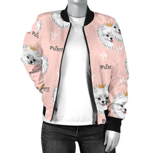 Pomeranian Pattern Women Bomber Jacket