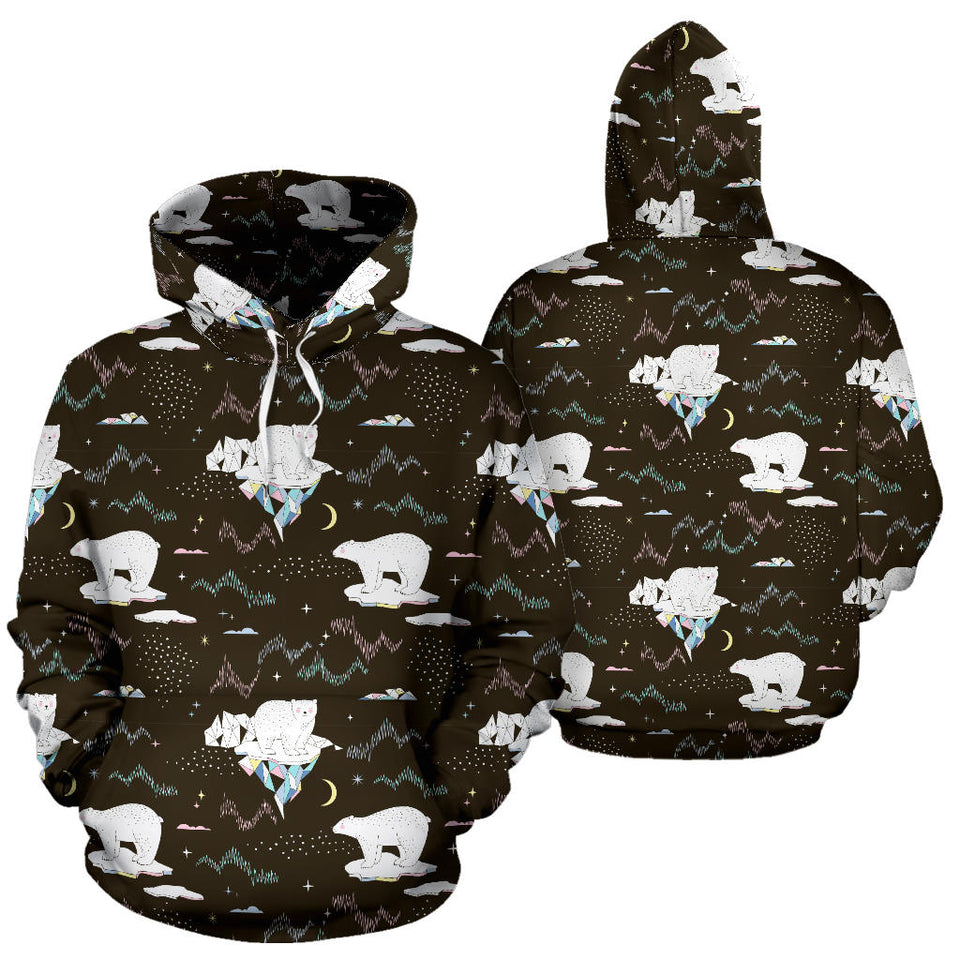 Polar Bear Pattern Background Pullover Hoodie