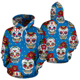 Suger Skull Rose Pattern Pullover Hoodie