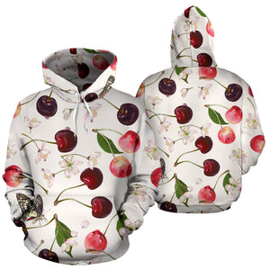 Cherry Flower Butterfly Pattern Pullover Hoodie