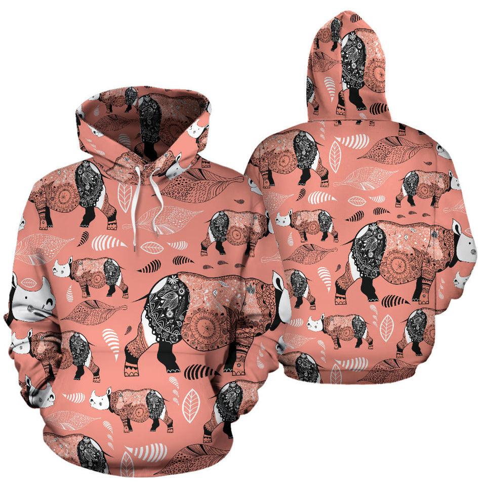 Rhino Tribal Pattern Men Women Pullover Hoodie