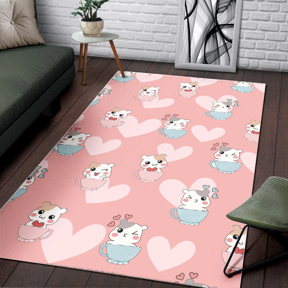 Hamster in Cup Heart Pattern Area Rug