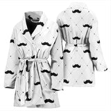 Mustache Beard Pattern Print Design 04 Women Bathrobe