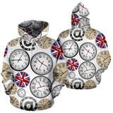 Wall Clock UK Pattern Men Women Pullover Hoodie