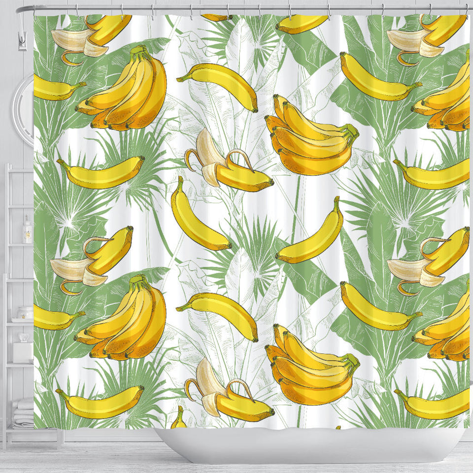 Banana Pattern Background Shower Curtain Fulfilled In US