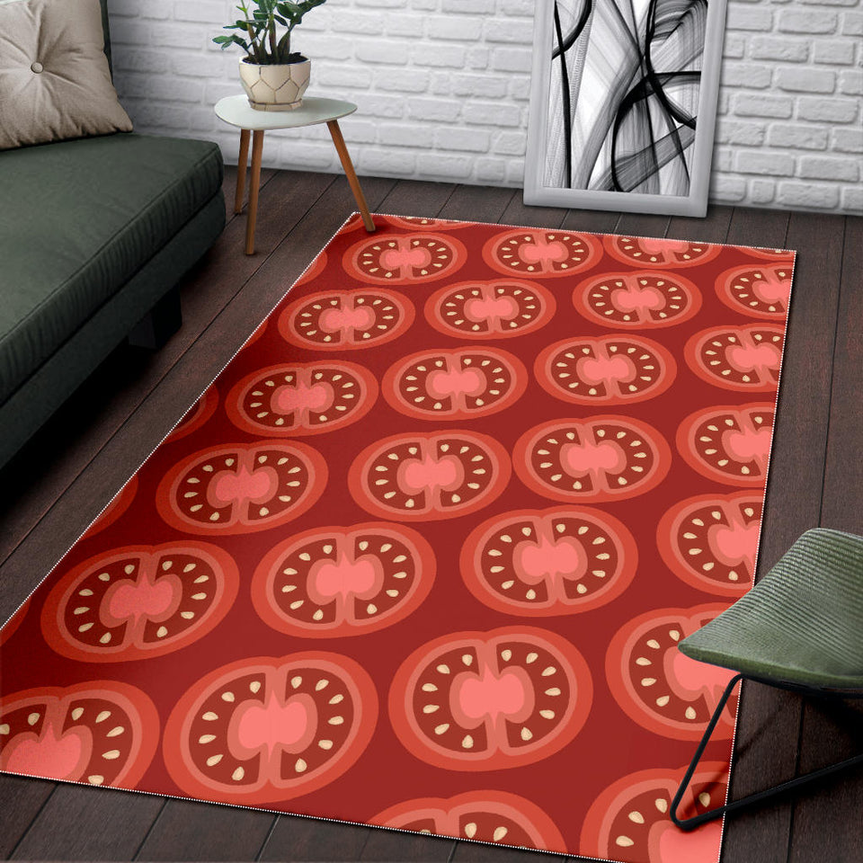 Sliced Tomato Pattern Area Rug