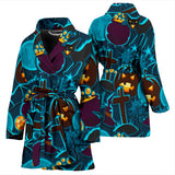 Halloween Pumpkin Cat Pattern Women Bathrobe