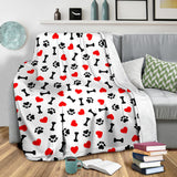 Dog Paws Pattern Print Design 01 Premium Blanket