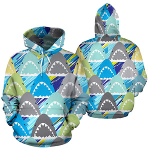 Shark Head Pattern Men Women Pullover Hoodie