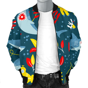 Shark Pattern Men Bomber Jacket