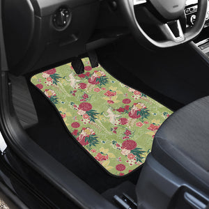 Japanese Crane Green Theme Pattern Front Car Mats