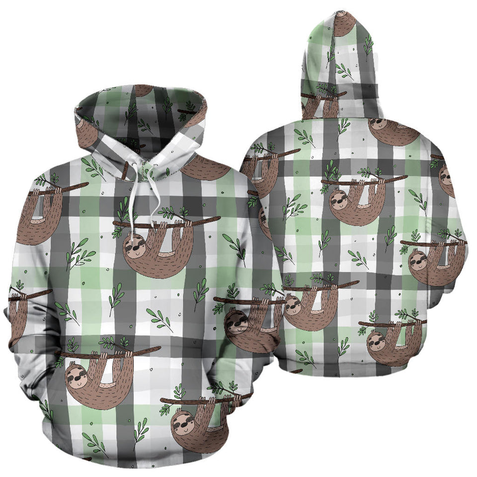 Sloth Pattern Stripe Background Men Women Pullover Hoodie