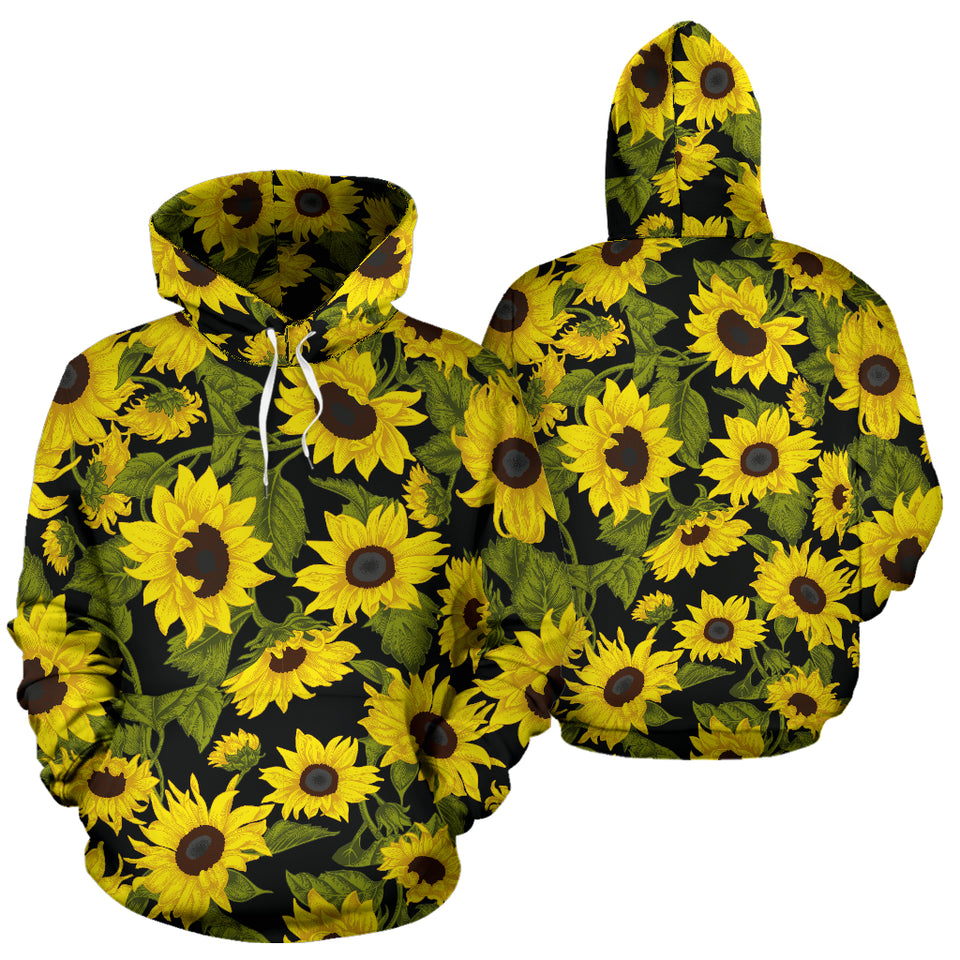 Sunflower Theme Pattern  Men Women Pullover Hoodie