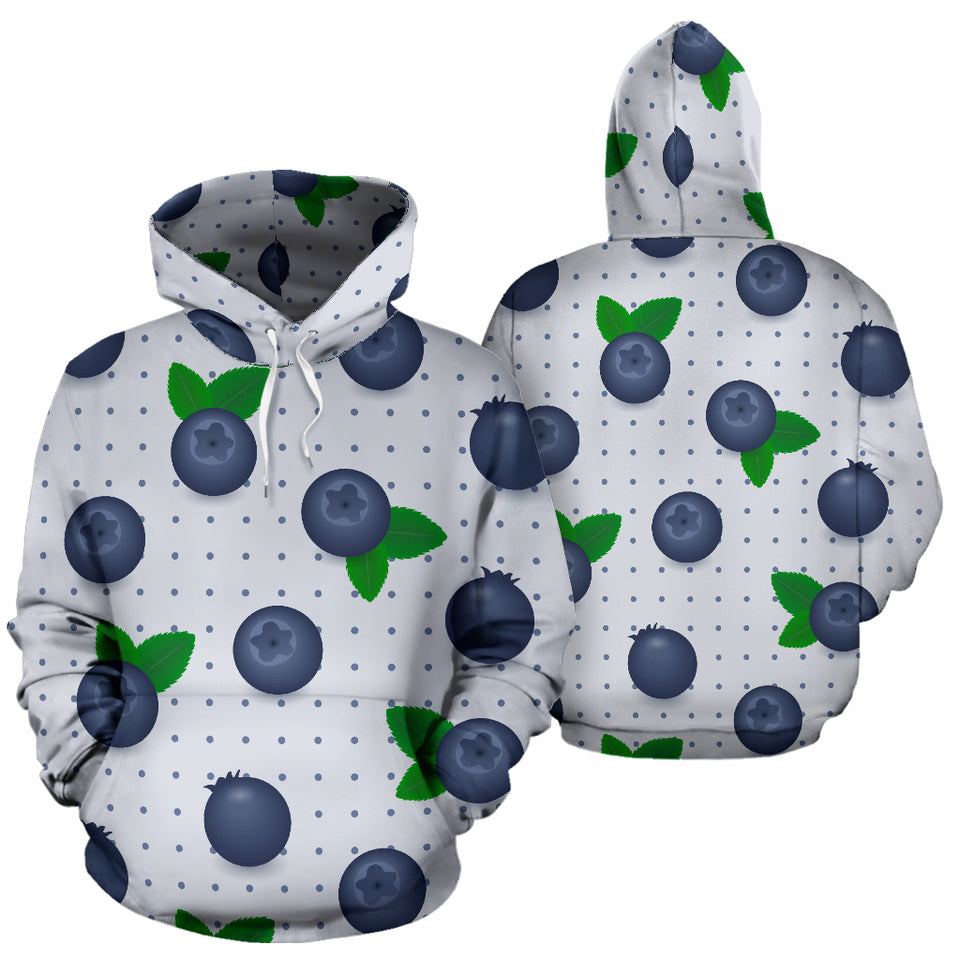 Blueberry Pokka Dot Pattern Men Women Pullover Hoodie