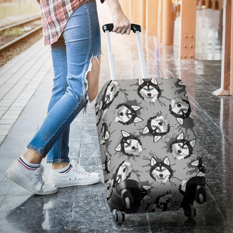 Siberian Husky Pattern Theme Luggage Covers