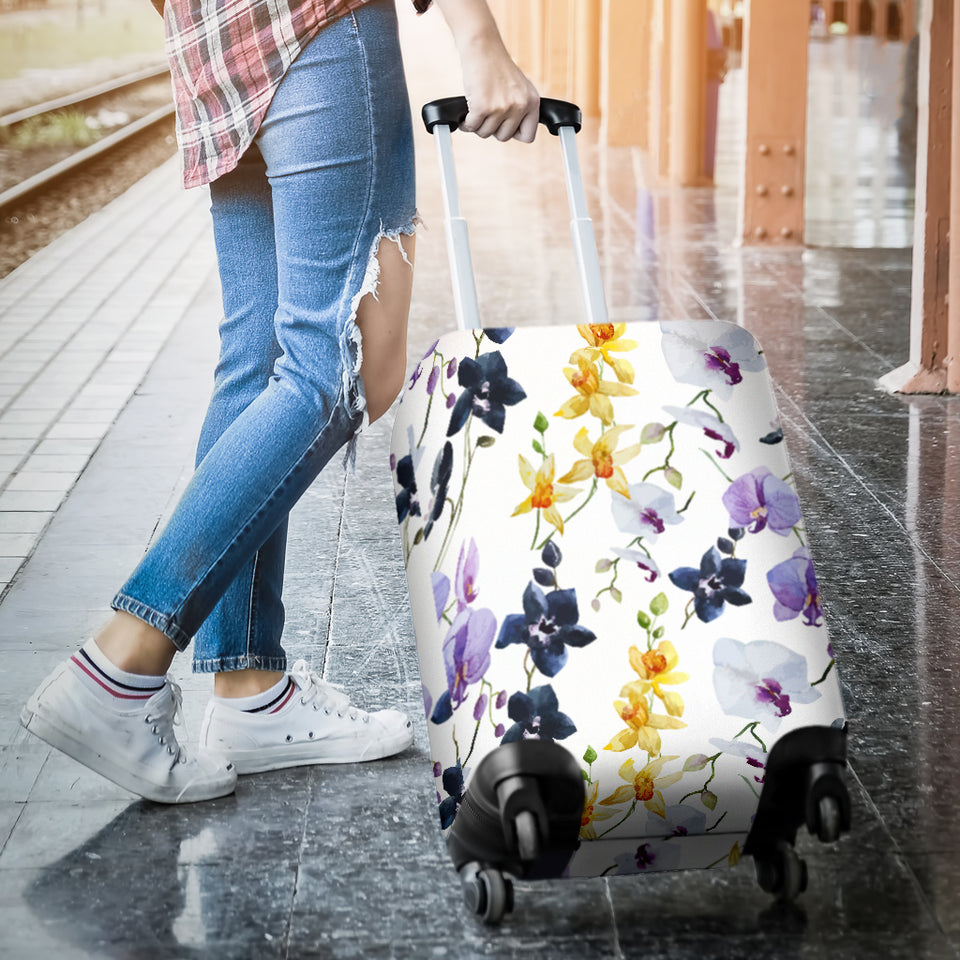 Orchid Pattern Background Luggage Covers