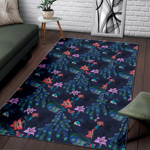 Peacock Feather Pattern Area Rug