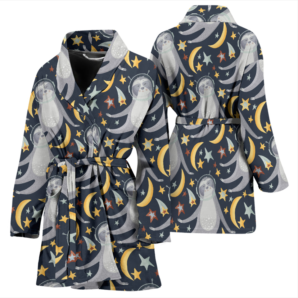 Sloth Astronaut Pattern Women Bathrobe