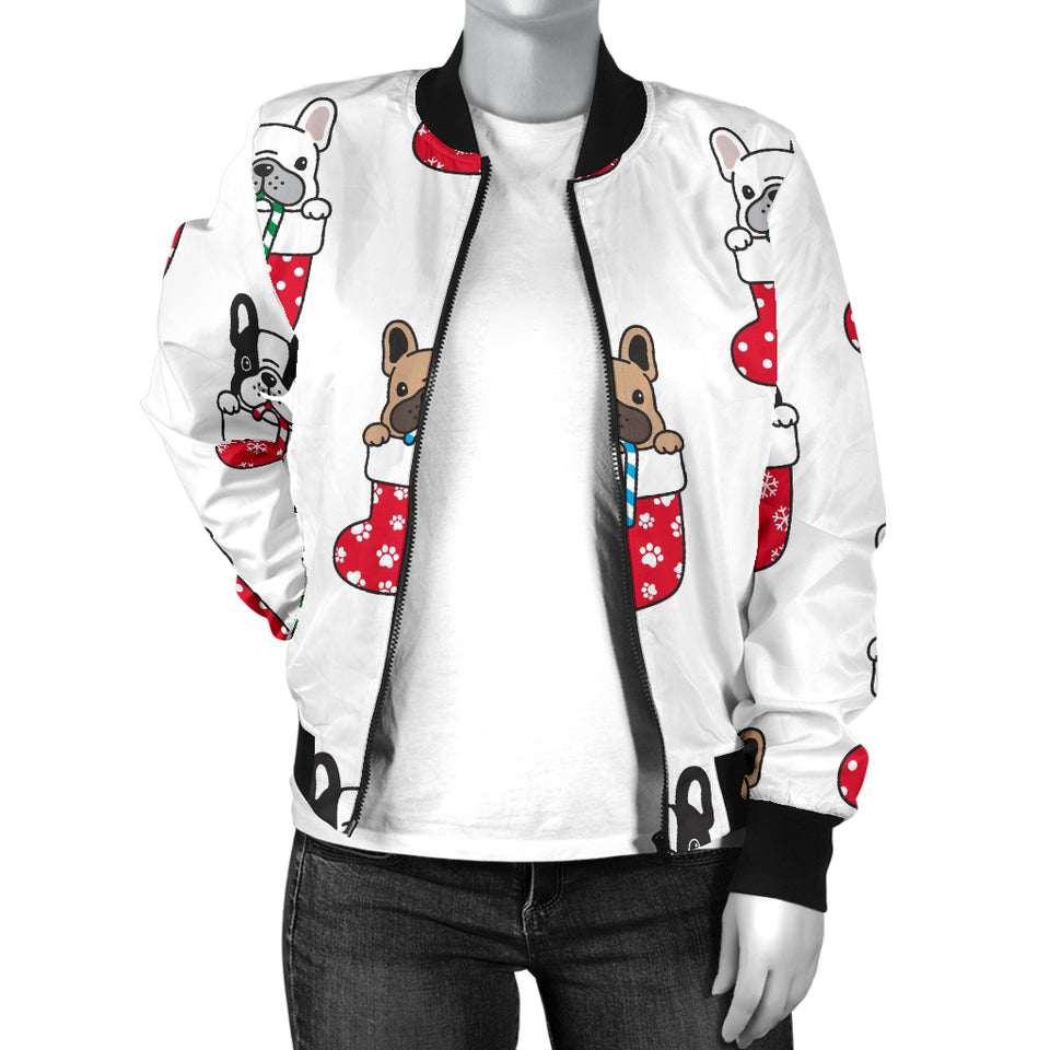 French Bulldog in Sock Pattern Women Bomber Jacket