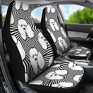Black and White Poodle Pattern Universal Fit Car Seat Covers