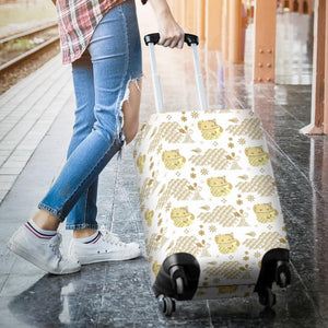 Gold Meneki Neko Lucky Cat Pattern Luggage Covers