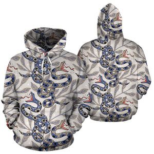Snake Leaves Pattern Men Women Pullover Hoodie