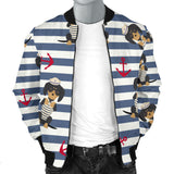 Dachshund Anchor Navy Blue Pattern Men Bomber Jacket