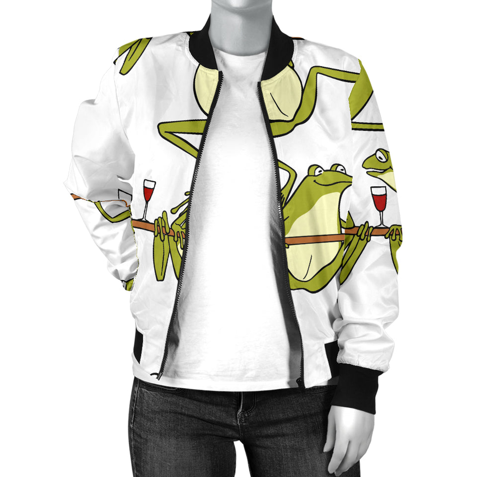 Frog drunk Pattern Women Bomber Jacket