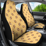 American Football Ball Pattern Yellow Background Universal Fit Car Seat Covers