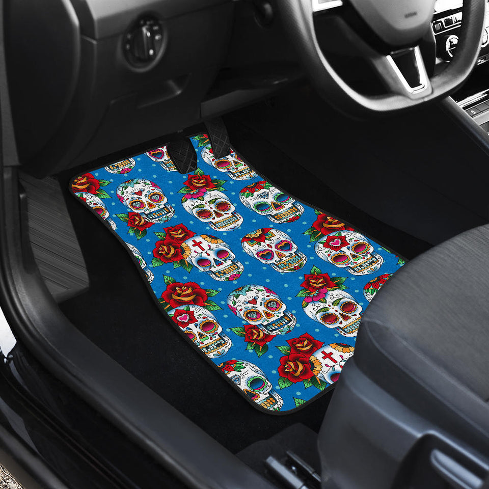 Suger Skull Rose Pattern Front Car Mats