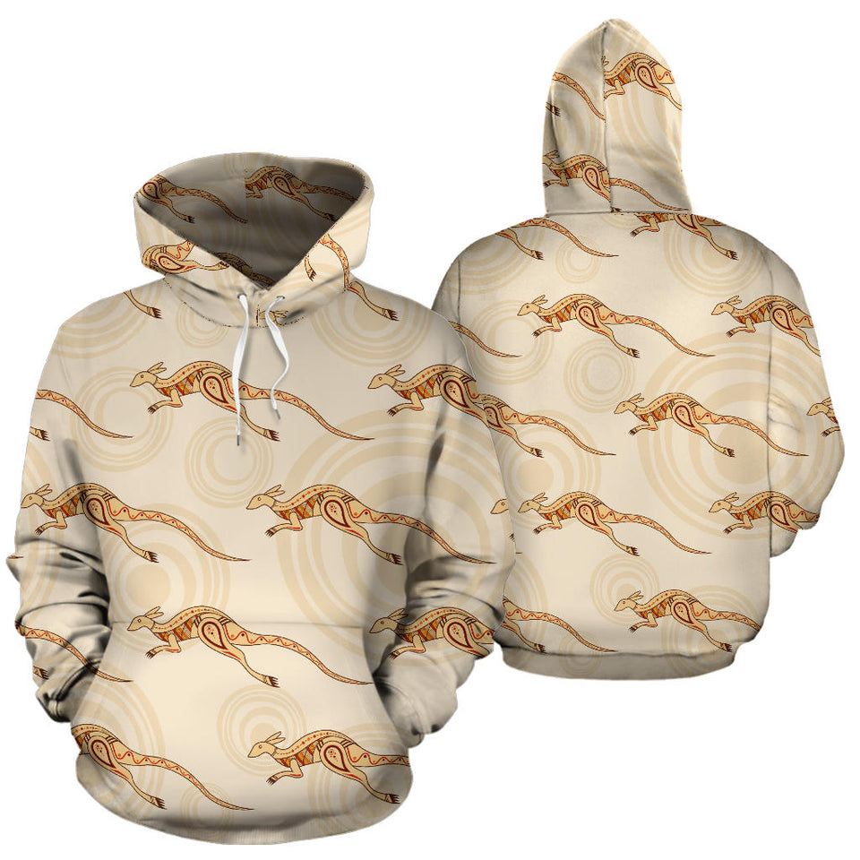 Kangaroo Aboriginal Pattern Background Men Women Pullover Hoodie