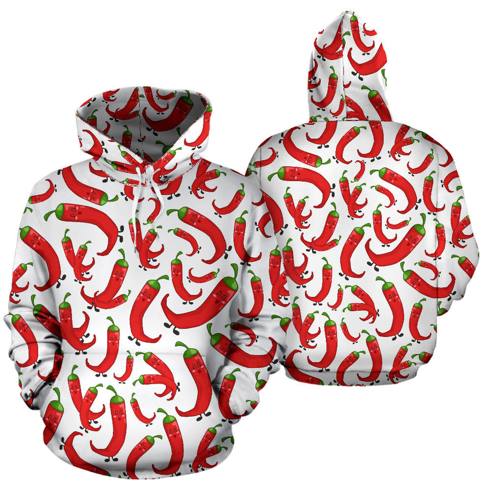 Red Chili Pattern Men Women Pullover Hoodie