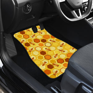 Bee and Honeycomb Pattern Front Car Mats