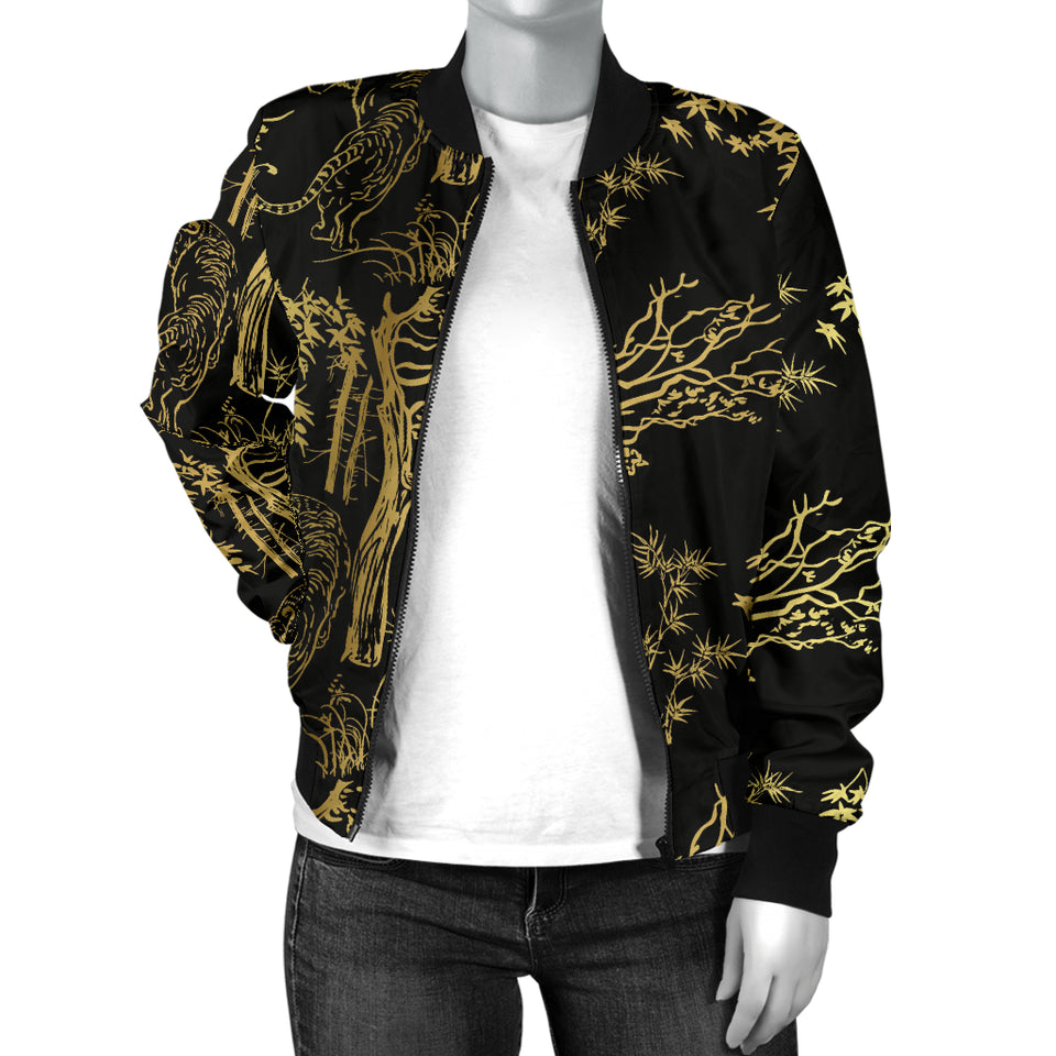 Bengal Tiger and Tree Pattern Women Bomber Jacket