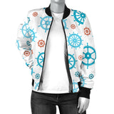 Nautical Steering Wheel Rudder Pattern Background Women Bomber Jacket