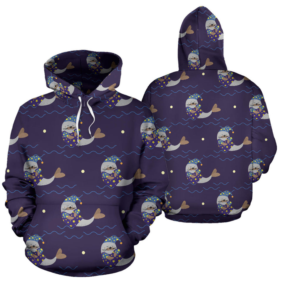 Sleeping Sea Lion Pattern Men Women Pullover Hoodie