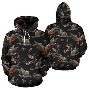 Japanese Crane Pattern Background Pullover Hoodie