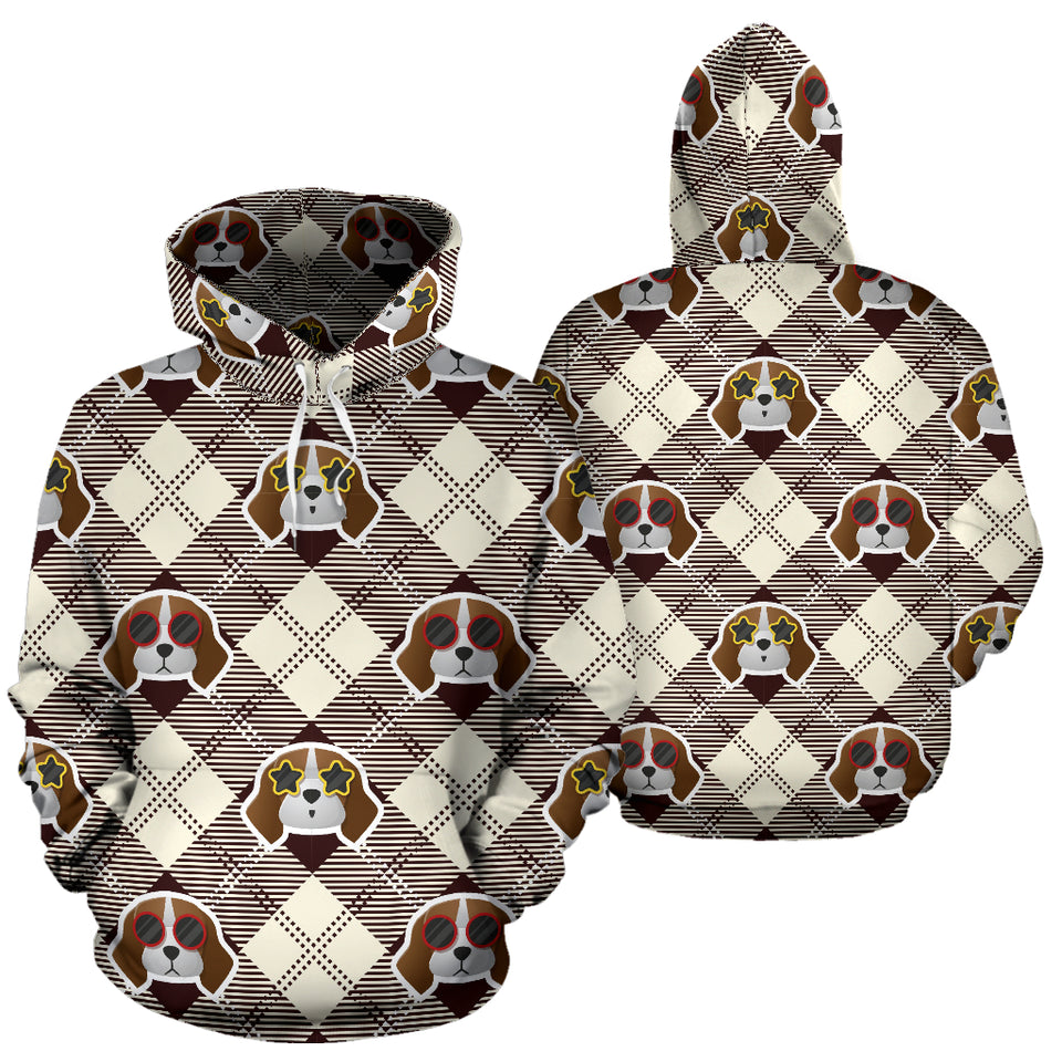Beagle with Sunglass Pattern Pullover Hoodie
