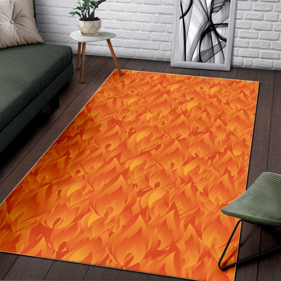 Red Flame Fire Pattern Area Rug