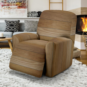 Wood Printed Pattern Print Design 02 Recliner Chair Slipcover