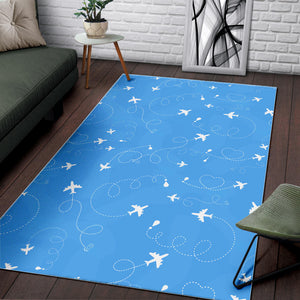 Airplane Pattern Blue Backgroung Area Rug