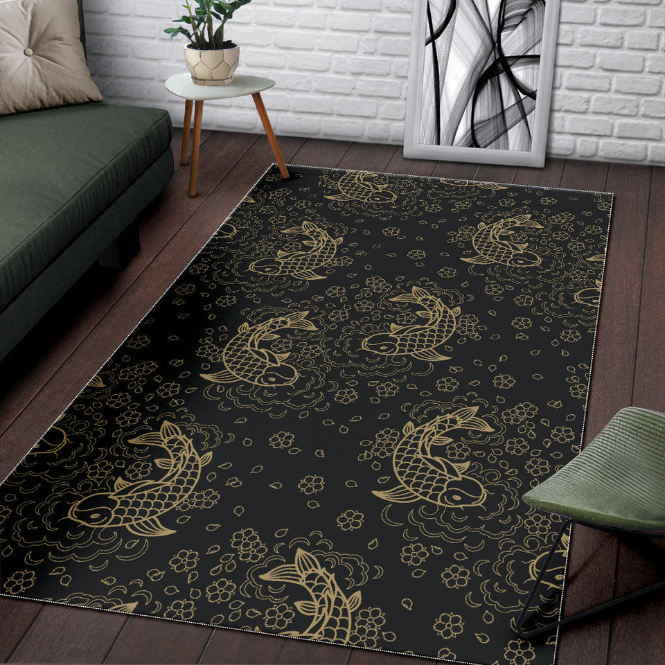 Gold Koi Fish Carp Fish Pattern Area Rug
