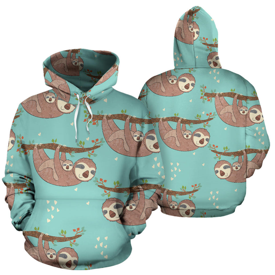 Sloth Mom and baby Pattern Men Women Pullover Hoodie