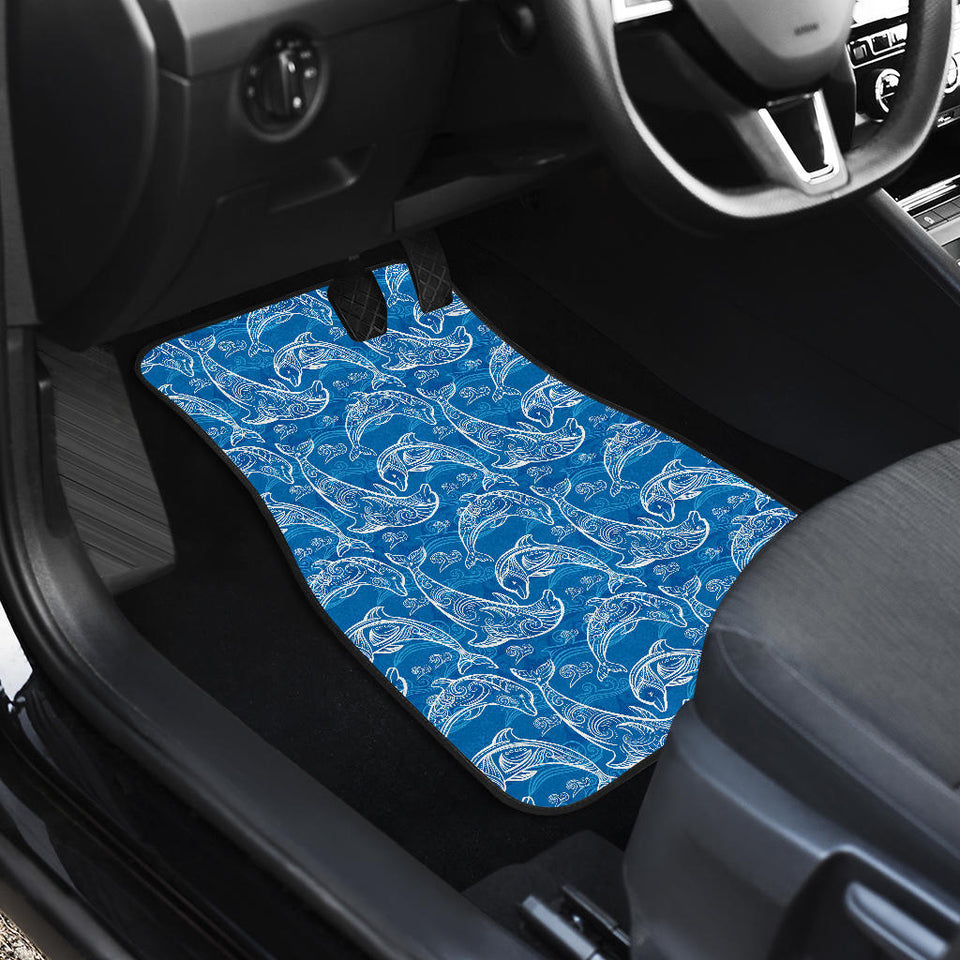 Dolphin Tribal Blue Pattern  Front Car Mats