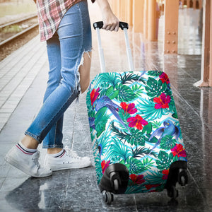 Blue Parrot Hibiscus Pattern Luggage Covers
