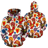 Colorful Rooster Chicken Guitar Pattern Men Women Pullover Hoodie