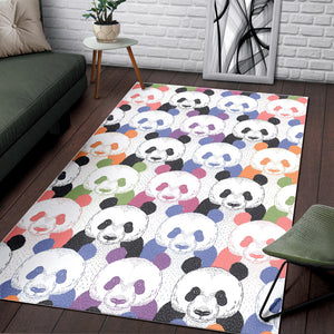 Colorful Panda Pattern Area Rug