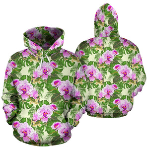 Orchid Leaves Pattern Men Women Pullover Hoodie